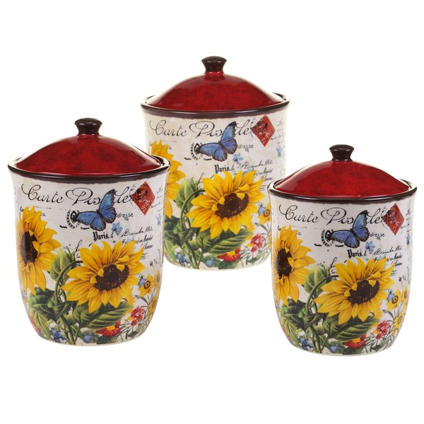 certified international sunflower meadow 3 pc canister set sunflower kitchen canister sets
