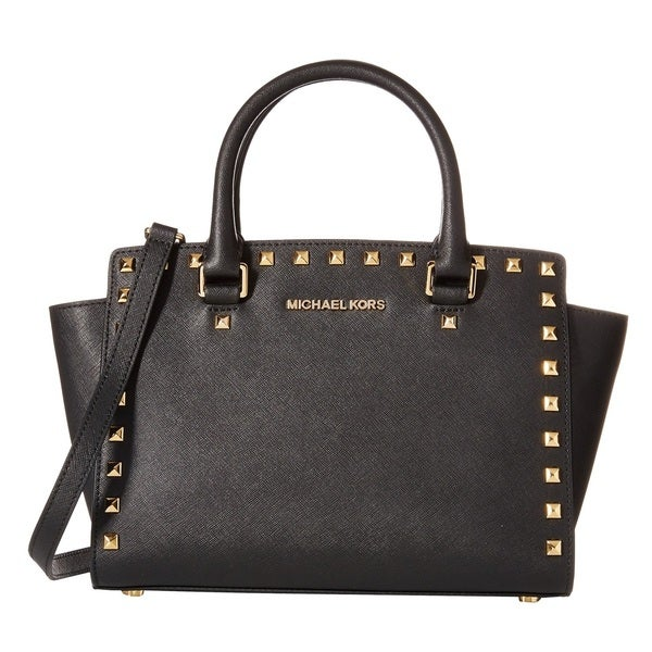 7e7161561b6b Michael Kors Selma Black Studded Saffiano Leather Medium Satchel Handbag