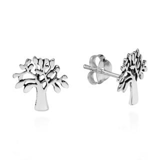 Loving Nature Tree of Life Sterling Silver Stud Earrings (Thailand)