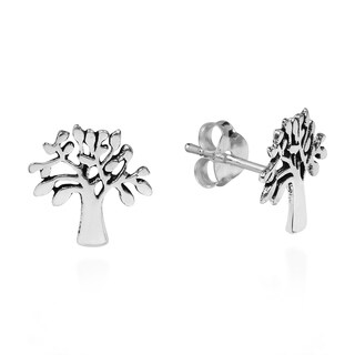 Handmade Loving Nature Tree of Life Sterling Silver Stud Earrings (Thailand)