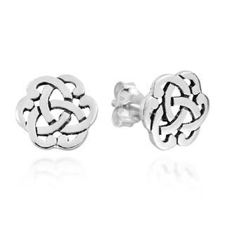 Handmade Interlocking Celtic Knot Sterling Silver Stud Earrings (Thailand) https://ak1.ostkcdn.com/images/products/11453669/P18412145.jpg?_ostk_perf_=percv&impolicy=medium