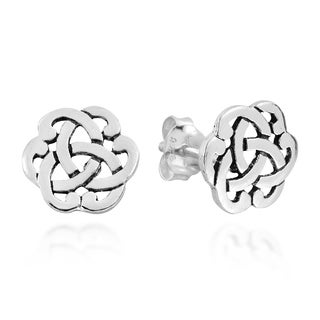 Handmade Interlocking Celtic Knot Sterling Silver Stud Earrings (Thailand)