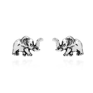 Handmade Adorable Petite Elephant Sterling Silver Stud Earrings (Thailand)