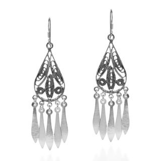 Exotic Teardrop Chandelier Sterling Silver Dangle Earrings (Thailand)