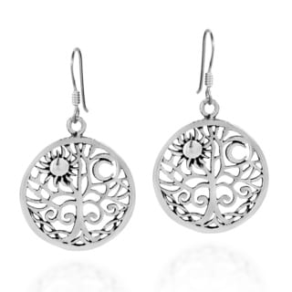 Handmade Sunshine and Moon Celtic Tree of Life .925 Silver Earrings (Thailand)