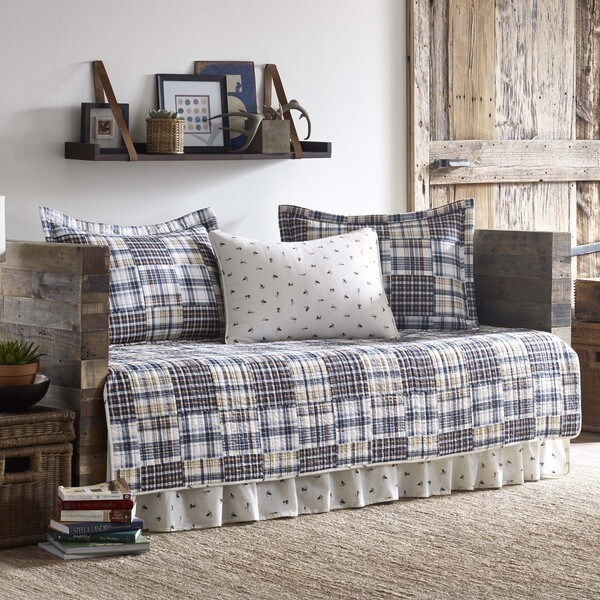 Eddie Bauer Sandpoint Yellow and Blue Plaid Patchwork 5-piece Daybed Cover Set
