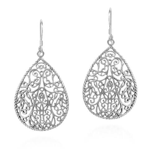 Handmade Vintage Filigree Teardrop Sterling Silver Dangle Earrings (Thailand)