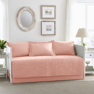 Laura Ashley Felicity Coral 5-piece Cotton Daybed Cover Set