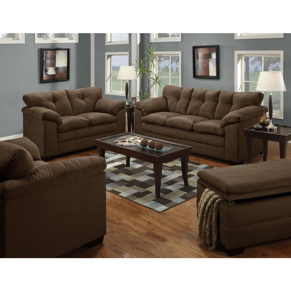 Shop Simmons Upholstery Luna Chocolate Sofa Free Shipping Today
