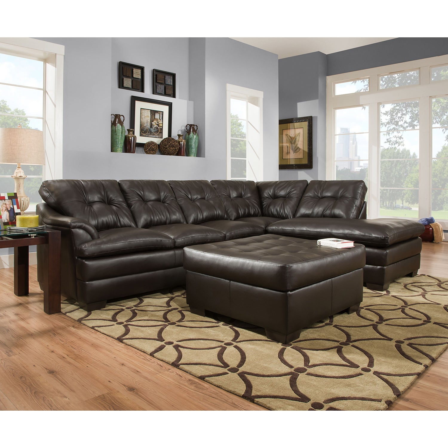 Simmons Upholstery Apollo Espresso Sectional and Ottoman ...