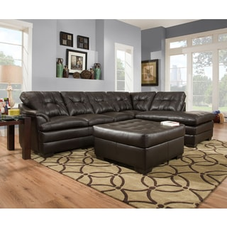 Simmons Upholstery Apollo Espresso Sectional and Ottoman