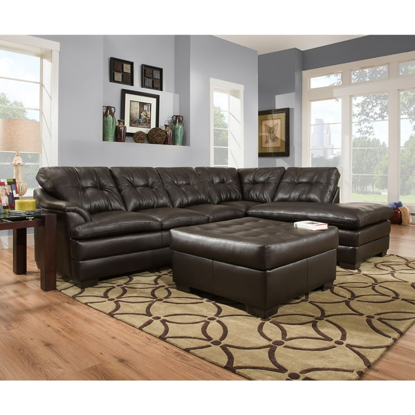Shop Simmons Upholstery Apollo Espresso Sectional And Ottoman Free Shipping Today Overstock