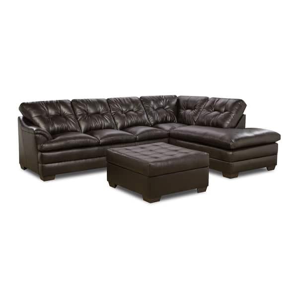 Fabulous Simmons Upholstery Apollo Espresso Sectional And Ottoman Inzonedesignstudio Interior Chair Design Inzonedesignstudiocom