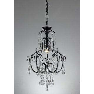 Genevieve 1-light Crystal 14-inch Black-finish Chandelier