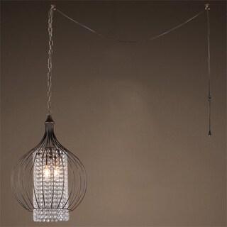 Fannie 3-light Crystal 15-inch Bronze Swag Lamp