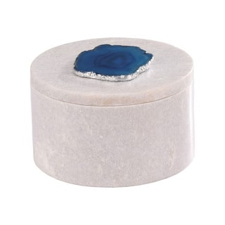 Dimond Home Antilles Round Box in White Marble and Blue Agate