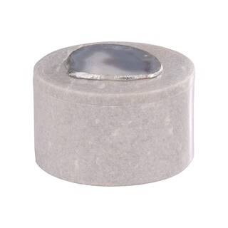 Dimond Home Antilles Round Box in White Marble and Natural Agate