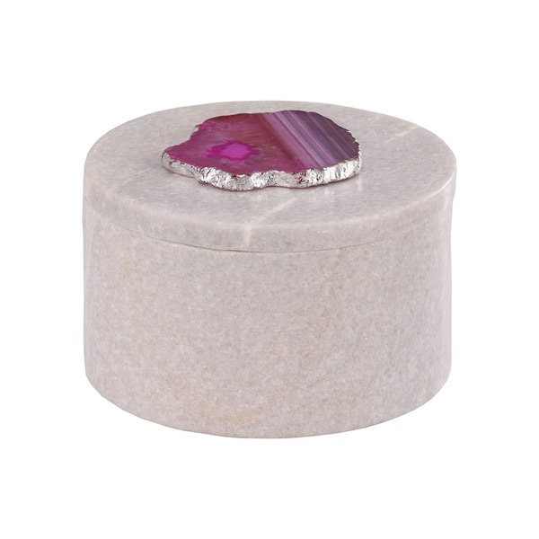 Dimond Home Antilles Round Box in White Marble and Pink Agate
