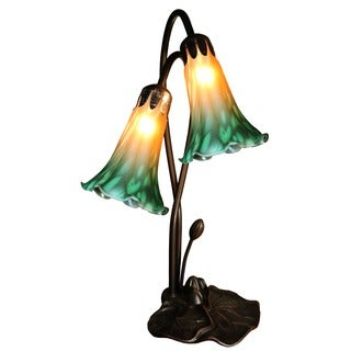 Ella 2-light Glass 17-inch Lily Tiffany-style Table Lamp