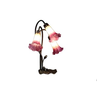 Eliana 3-light Amber and Purple Glass 17-inch Glass Tiffany-style Table Lamp