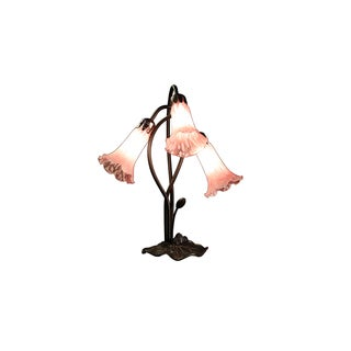 Josa 3- Light Pink Glass 17-inch Tiffany-style Table Lamp