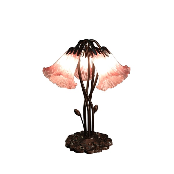 Shop Masis 5 Light Pink Glass 18 Inch Tiffany Style Table Lamp