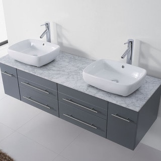 Virtu USA Augustine 59-inch Grey Double Bathroom Vanity Cabinet Set