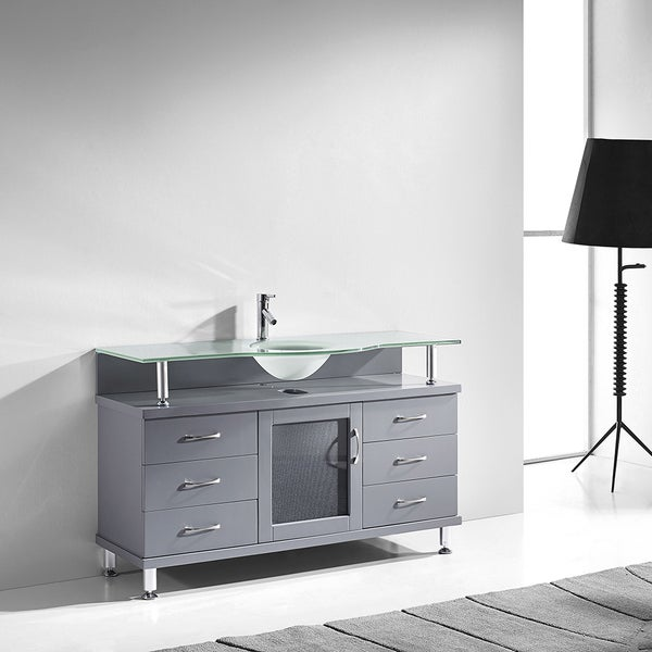 virtu usa vincente 55 inch single bathroom vanity cabinet in grey free shipping today. Black Bedroom Furniture Sets. Home Design Ideas