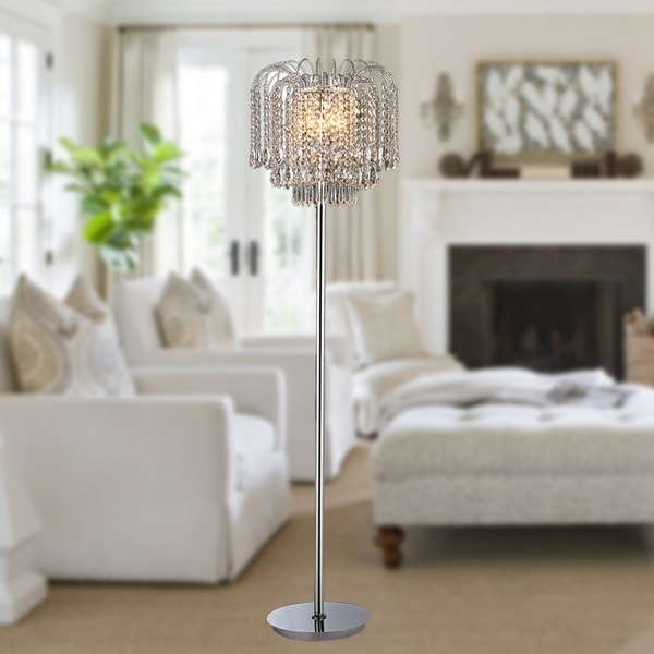 Xyrisse 4-light Crystal 58-inch Chrome Floor Lamp