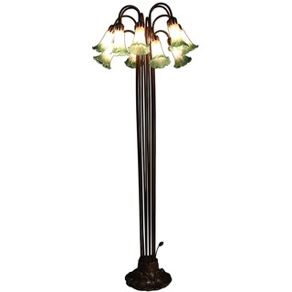 Emerald 12-light Amber and Green Glass 61-inch Tiffany-style Floor Lamp