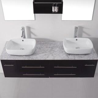 Virtu USA Augustine 59-inch Double Bathroom Vanity Cabinet Set in Espresso