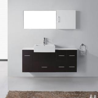 Virtu USA Hazel 59-inch Single Bathroom Vanity Cabinet Set in Espresso