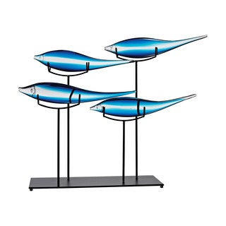 Dimond Home Tultui Ice Blue 22-inch Glass and Metal Table Art - Small