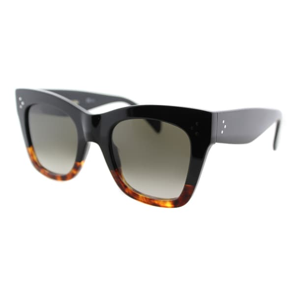88ab975f40fb Celine CL 41090 FU5 Black Cat Eye Frame Brown Gradient Lens Sunglasses