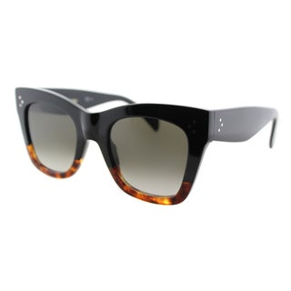Celine CL 41090 FU5 Black Plastic Square Cat Eye Brown Gradient Lens Sunglasses