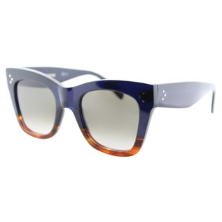Celine CL 41090 QLT Blue Havana Plastic Square Cat Eye Brown Gradient Lens Sunglasses