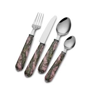 Mossy Oak 16-Piece Pink Flatware Set