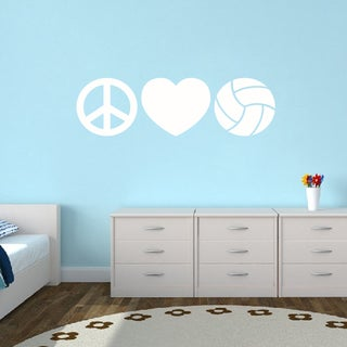 Peace Love Volleyball Medium Wall Decal
