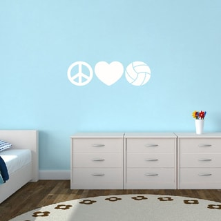 Peace Love Volleyball Small Wall Decal