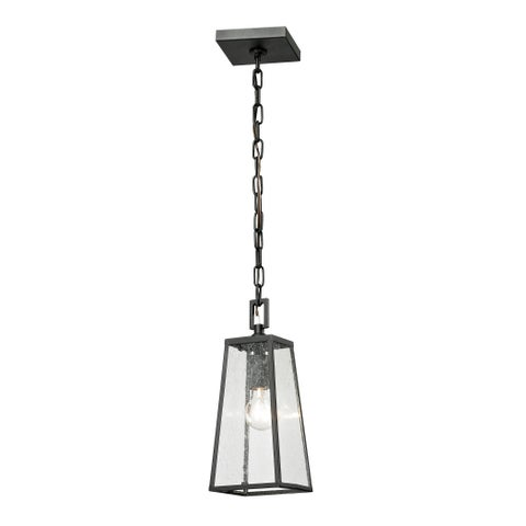 Elk Meditterano Textured Matte Black 1-light Outdoor Pendant