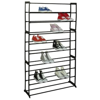 Free Standing 50 Pair, 10 Tier Shoe Rack, Black