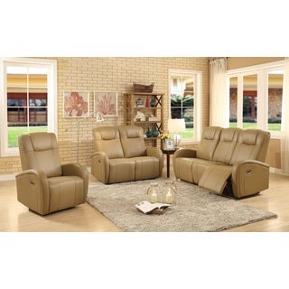 Easy Living Swiss Leather 3-piece Power Reclining Living Room Set with USB