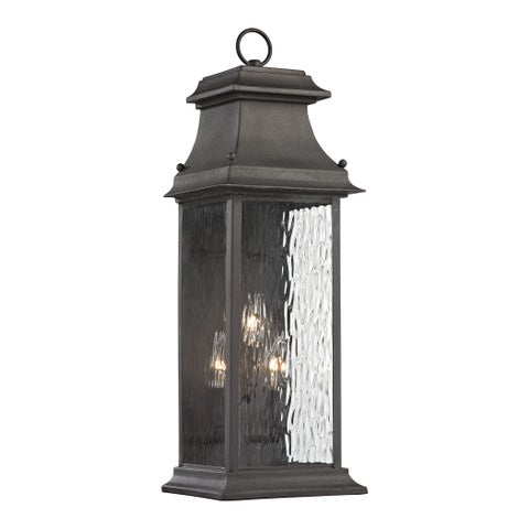 Elk Forged Provincial Charcoal 3-light 23-inch Outdoor Sconce
