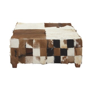 Wood Hide Large Square Ottoman
