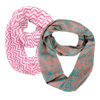 Peach Couture Best of Both Worlds Chevron and Damask Designer Infinity Loop (Set of 2)