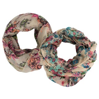 Peach Couture Cherry Blossom All Over Flower Bird and Butterfly Print Loop Scarves (Pack of 2)