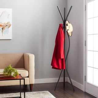 Contemporary Black Metal 72 Inch Coat Rack