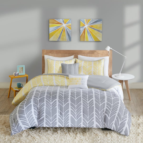Intelligent Design Kennedy Yellow Grey Comforter Set