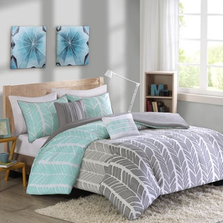 Intelligent Design Kennedy Aqua/ Grey Duvet Cover Set