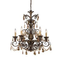 Elk Rochelle Weathered Mahogany and Amber Crystal 6-light Chandelier - Weathered Mahogany